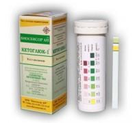 Тест-полоски КЕТОГЛЮК-1 Биосенсор АН для определения глюкозы и кетоновых тел в моче (50 штук в упаковке)